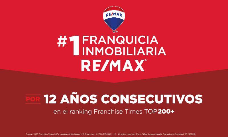 Por 12 años consecutivos, RE/MAX es la franquicia #1